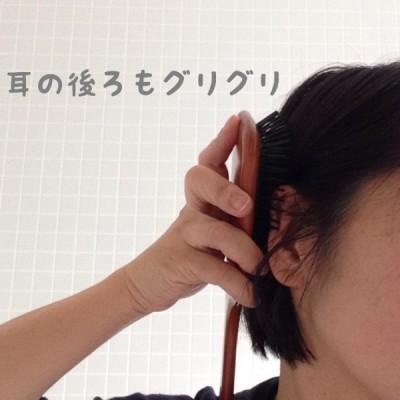 耳の後ろをグリグリ