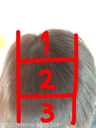 髪をブロックで分ける